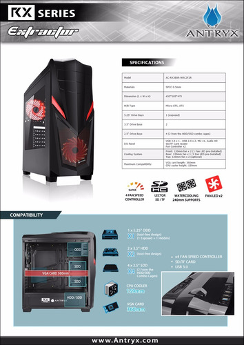 case gamer antryx rx extractor incluye fuente de poder