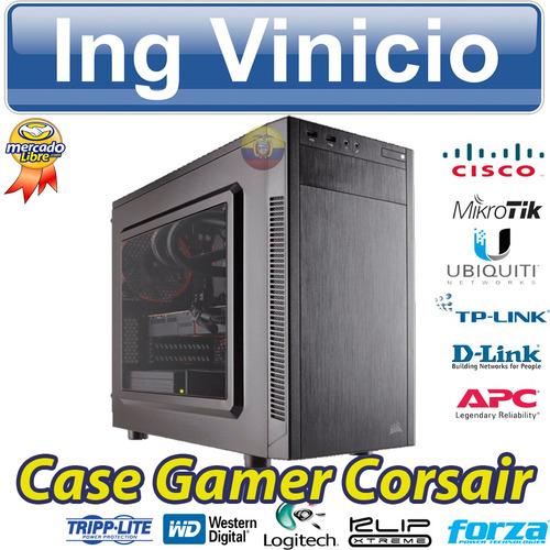 case gamer corsair 88r atx media torre tapa transparente
