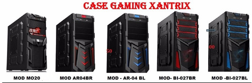 case gamer fuente 350w fan12 cm  color, usb 3.0 azul rojo