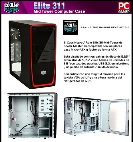case gamer gaming cooler master elite 311 atx tapa acrilico