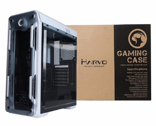 case gaming marvo ca-210 tapa transparente , incluye 3 fans