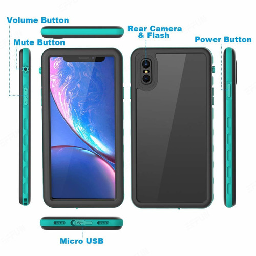 case impermeable effun iphone xs max ip68 certificado waterp
