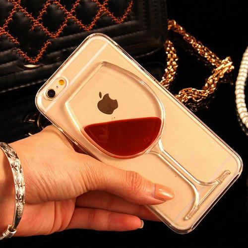 case iphone 6 6s plus copa vino contenido líquido novedoso