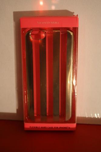 case iphone 6 victoria´s secret, rayado dorado tranparente
