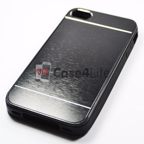 case lisa com listra cromada para iphone 4/4s - preta