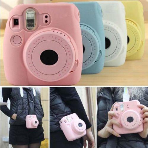 case para cámara fujifilm instax mini 8 8 + mini 9 blanco