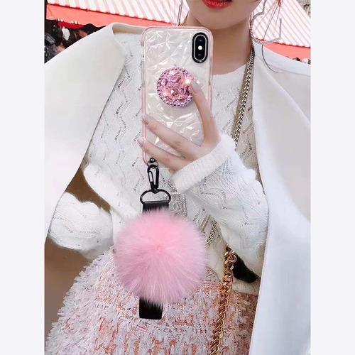 case para huawei diamantes 3d pompon + collar + sujetador pop goma gruesa charm peluche relieve hombre mujer dama funda