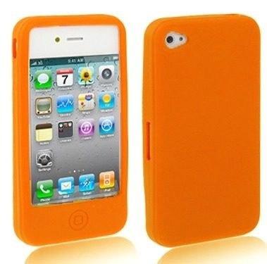 case para iphone 4 em silicone laranja a1872
