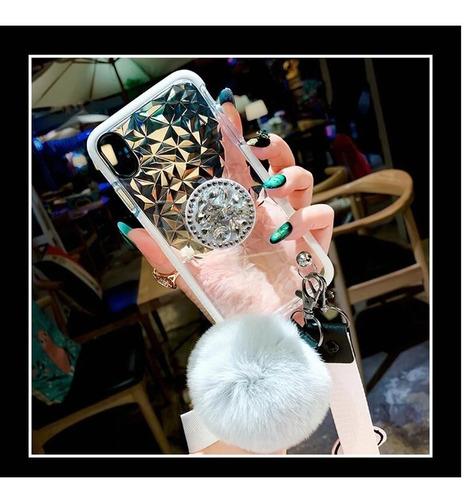 case para iphone diamantes 3d pompon + collar + sujetador pop goma gruesa charm peluche relieve hombre mujer dama funda