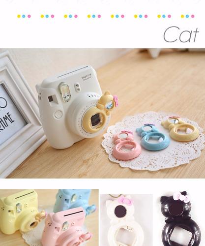 case plástico + lente gatinho branco instax + capa silicone