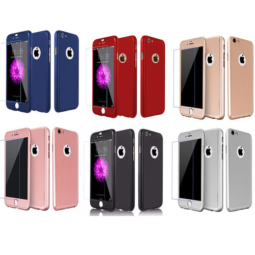 case protector funda iphone 6, 6s 7, 8, plus, x 360 + vidrio