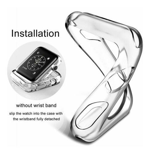 case protetor tpu p/ apple watch serie 4/5 transparente 44mm