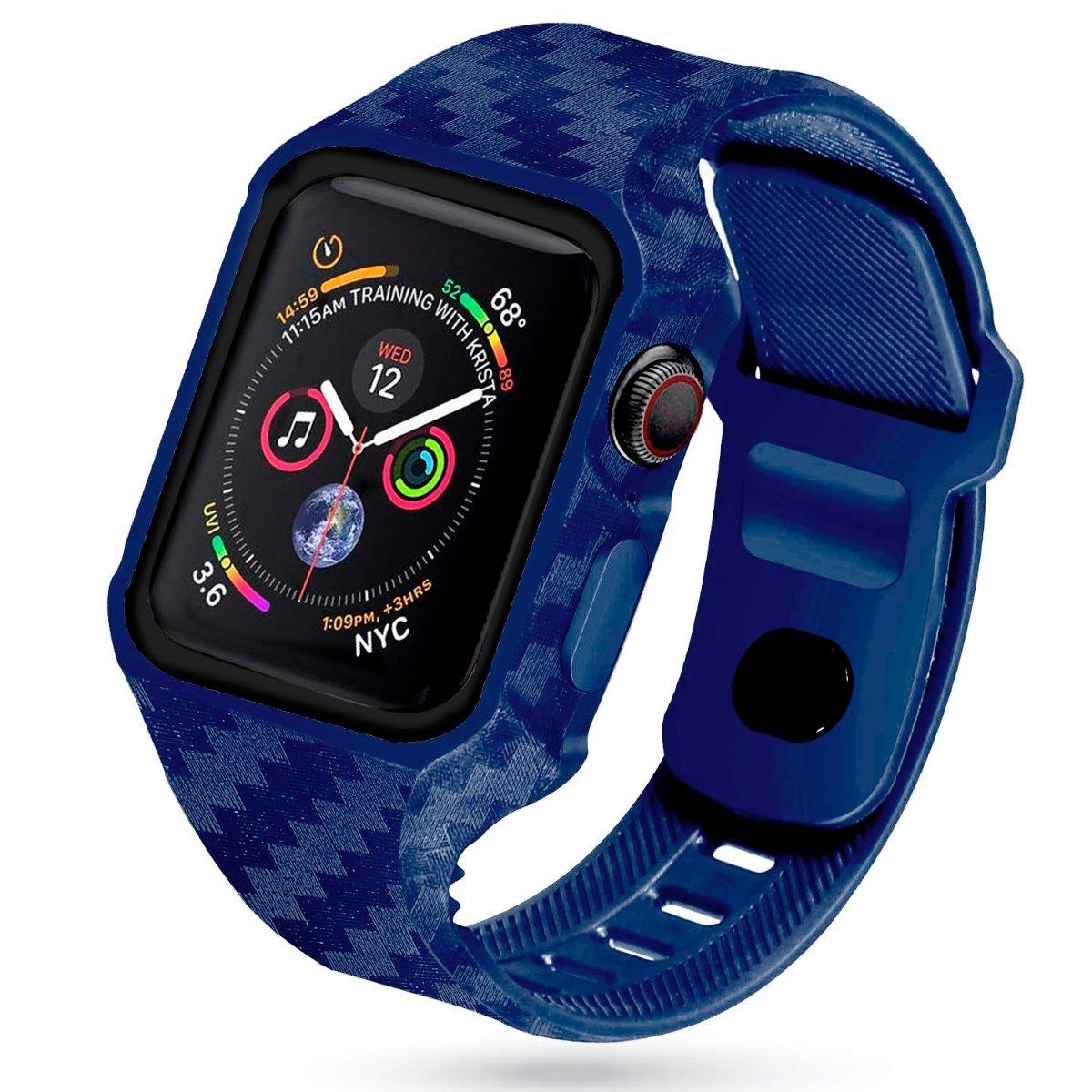 a1aa16871ed Case + Pulseira Para Apple Watch 44mm Padrão Carbono Azul - R  119 ...