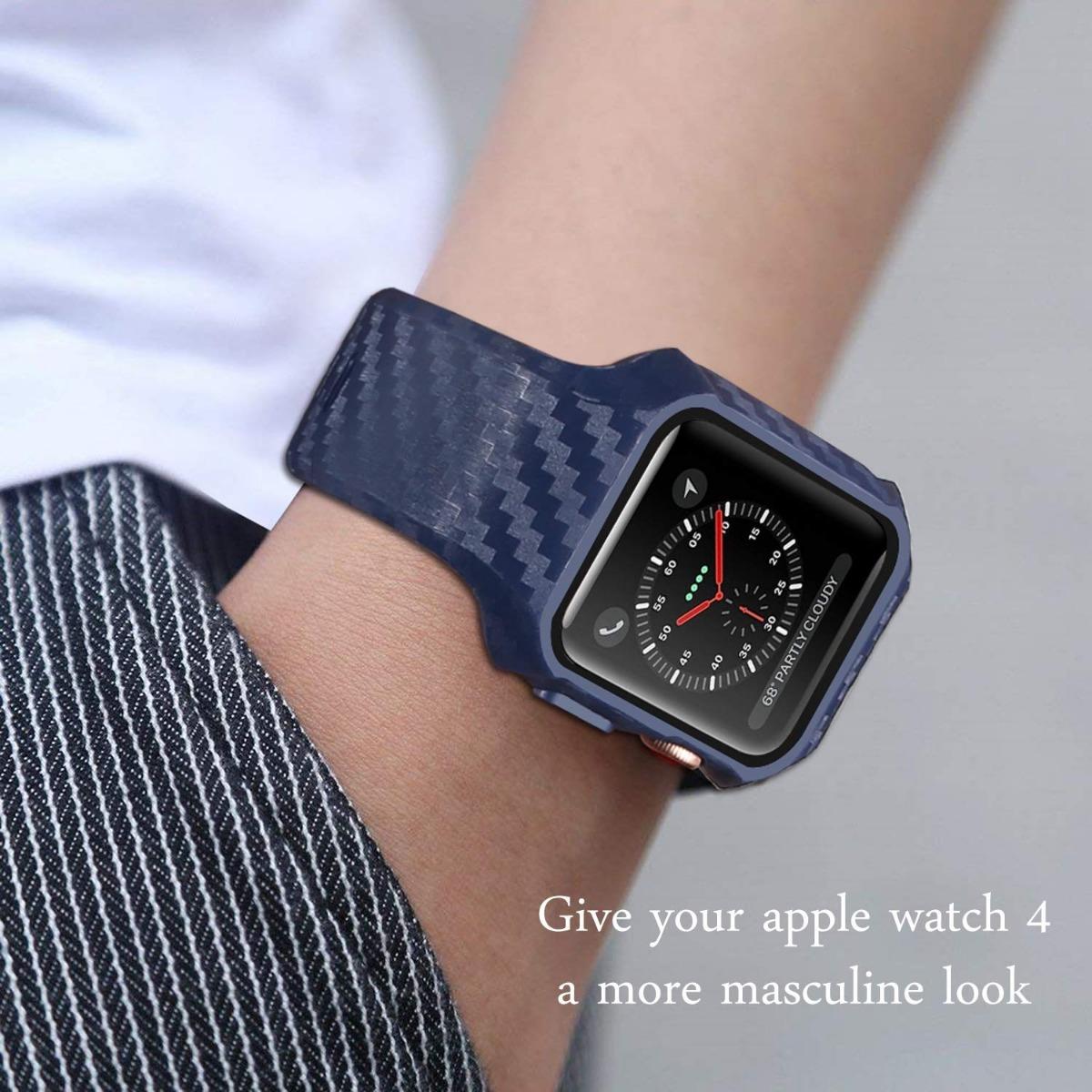 e80078bdf31 Case + Pulseira Para Apple Watch 44mm Padrão Carbono Preta - R  119 ...