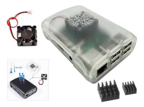 case raspberry pi3 transparente com cooler e dissipadores