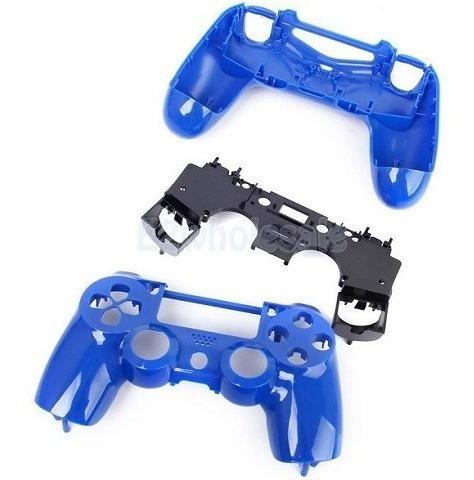case shell completa para controle ps4 cor azul