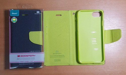 case/carcasa fancy diary para iphone 7 azul y verde manzana