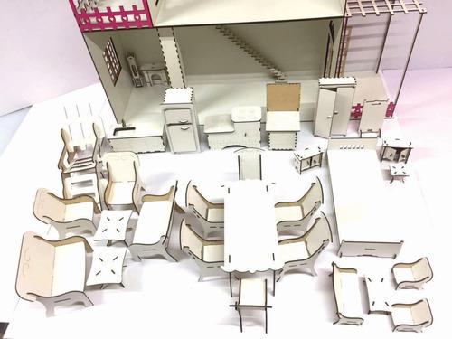 casinha boneca barbie rosa e branca + 22 moveis + 50 de brin