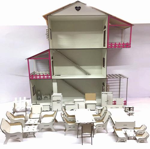 casinha boneca barbie rosa e branca + 22 moveis