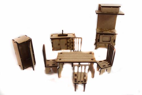 casinha boneca polly +27 móveis poly mdf crú barato