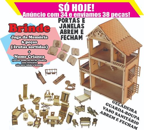 casinha boneca polly +40peças (mini móveis + parquinho) top!