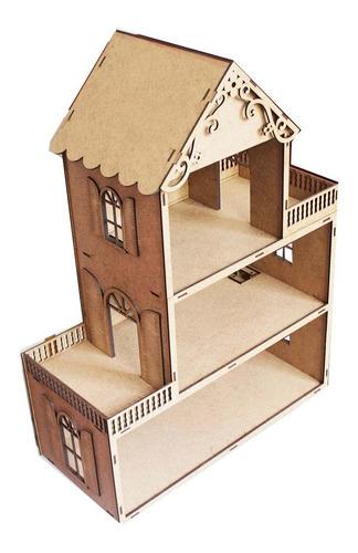 casinha casa de boneca mdf 62cm brinquedo polly genitori