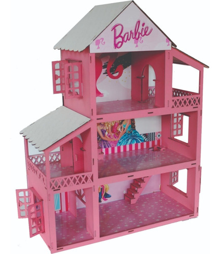 casinha casa polly princesa casa rosa + 34 moveis mdf lindo