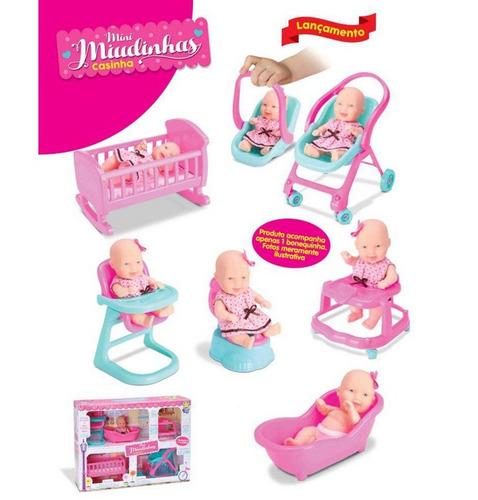 casinha das bonecas mini miudinhas com 6 acessórios