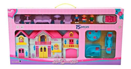casinha de boneca acende luzes som móveis gangorra 15 peças