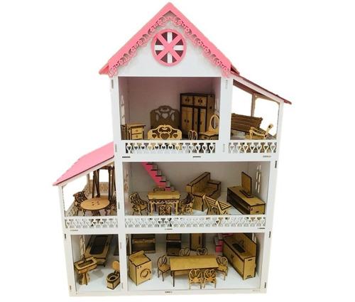 casinha de boneca branca polly mdf pintada com kit 36 móveis