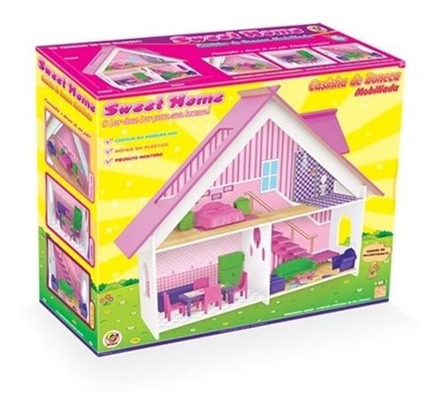 casinha de boneca em madeira casa com moveis meninas sweet h