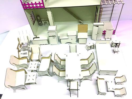 casinha de boneca para barbie + 22 móveis 50 móveis decor