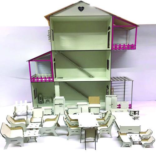 casinha de boneca para barbie + 22 móveis + 50 móveis decora