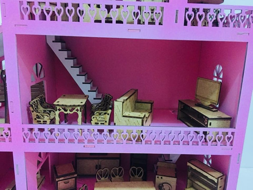 casinha de boneca roxa polly mdf pintada com kit 36 móveis