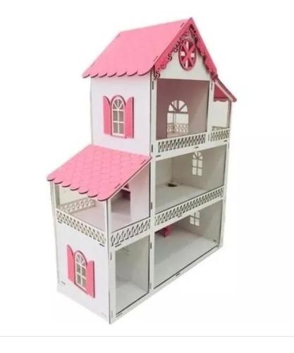 casinha de bonecas polly mdf pintada montada pronta entrega