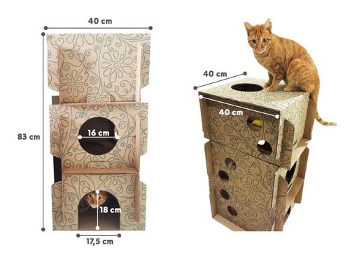 casinha de papelão para gatos com 03 andares - cats4fun