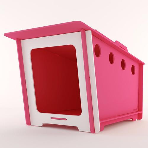 casinha ecológica cachorro grande minihaus rosa pet fêmea g