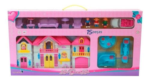 casinha infantil de boneca lar doce lar luz som c/ 15 peças