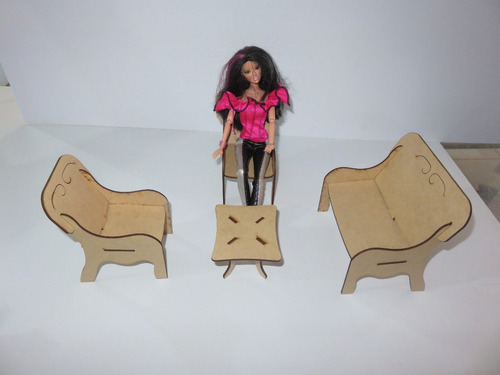 casinha para boneca barbie + 26 moveis ( sem pintar )