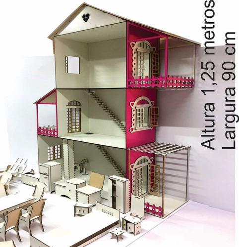 casinha para boneca barbie  branco e rosa ( sem móveis )