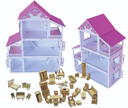 casinha pintada branca rosa  boneca polly +34 móveis