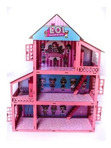 casinha pintada rosa+34 móveis+1 boneca  polly +brinde(nome)