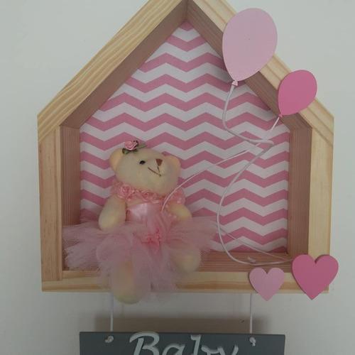 casinha pinus porta maternidade menina chevron nicho parede