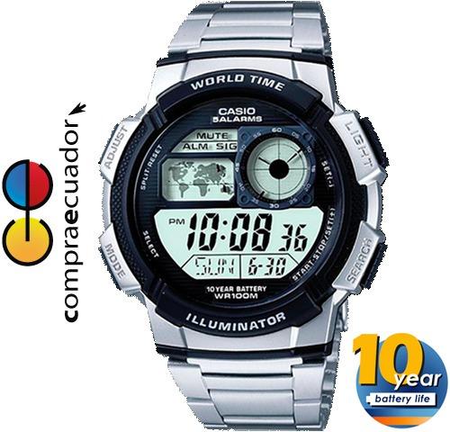 casio, ae-1000wd-1avdf, 10 bar, hora mundial, 10 años pila.