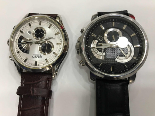 casio beside chronograph pulseira de couro