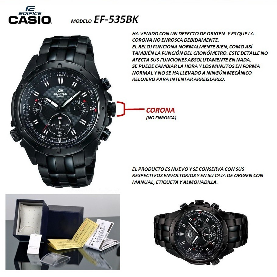 46850a99781b Casio Ef-535 Black Cronómetro 1 1 Seg.oportunidad outlet -   2.990 ...