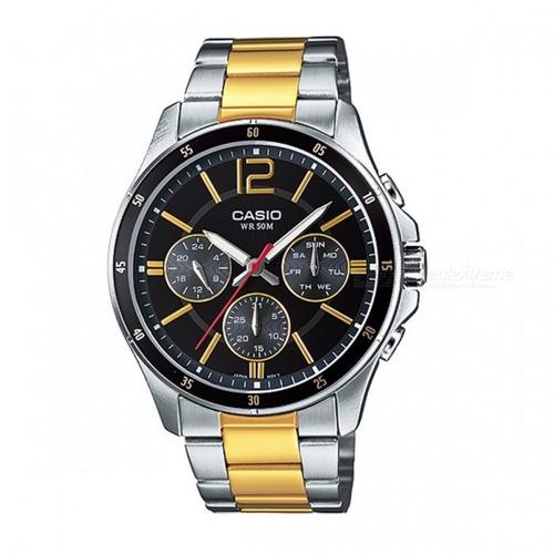 casio mtp-1374sg-1avdf relógio analógico - prata + preto