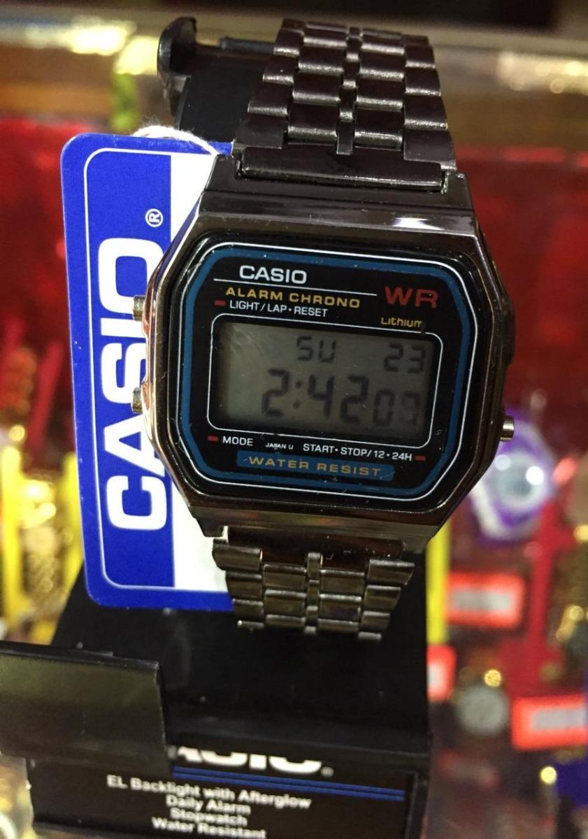 ce13ad298532 Casio Negro Metalico Vintage A168 -   330.00 en Mercado Libre