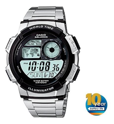 casio reloj ae-1000wd-1av 10 bar hora mundial pila 10 años