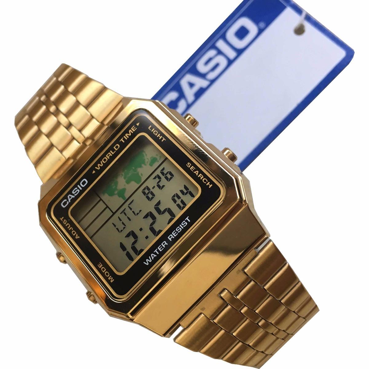 ac16aba3912 Carregando zoom... relogio casio a500 dourado unissex c  caixa original